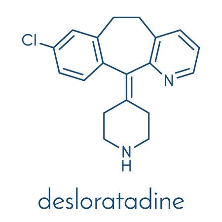 Desloratadine antihistamine drug molecule. Used to treat hay fever, urticaria and allergies. Skeletal formula.