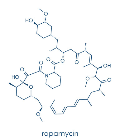 Rapamycin (sirolimus) immunosuppressive drug molecule. Used to prevent transplant rejection and in coronary stent coating. Skeletal formula. Illustration