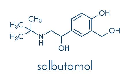 Salbutamol (albuterol) asthma drug molecule. Often administered via inhaler. Skeletal formula.