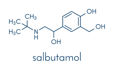 Salbutamol (albuterol) asthma drug molecule. Often administered via inhaler. Skeletal formula.