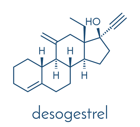 Desogestrel birth control pill drug molecule. Skeletal formula. Illustration