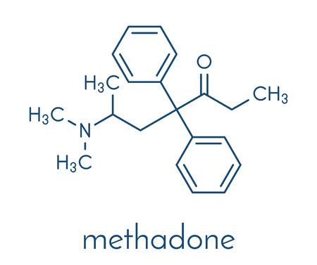 Methadone opioid dependency drug molecule. Also used as analgesic. Skeletal formula. Illustration