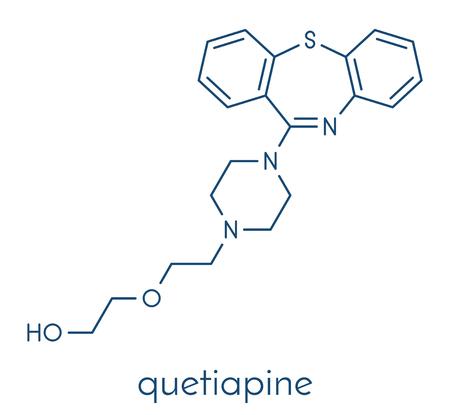 Quetiapine antipsychotic drug molecule. Skeletal formula.
