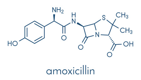 Amoxicillin beta-lactam antibiotic drug molecule. Skeletal formula.