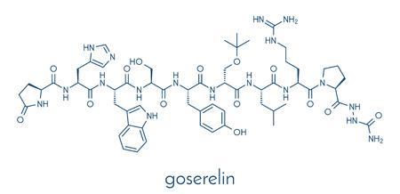 Goserelin breast and prostate cancer drug molecule. Skeletal formula.