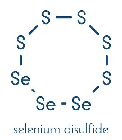Selenium disulfide dandruff shampoo active ingredient molecule. Selenium sulfide has antifungal properties. Skeletal formula.