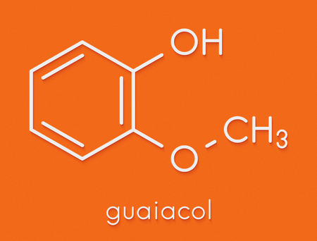 Guaiacol aromatic molecule. Responsible for the smoky taste of smoked foods. Skeletal formula.