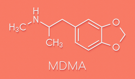 MDMA (XTC, E, ecstasy) party drug molecule. Full chemical name is 3,4-methylenedioxymethamphetamine. Skeletal formula. Stock Photo