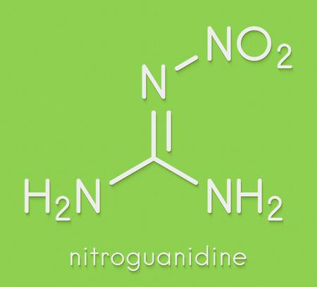 Nitroguanidine explosive molecule. Skeletal formula. Standard-Bild