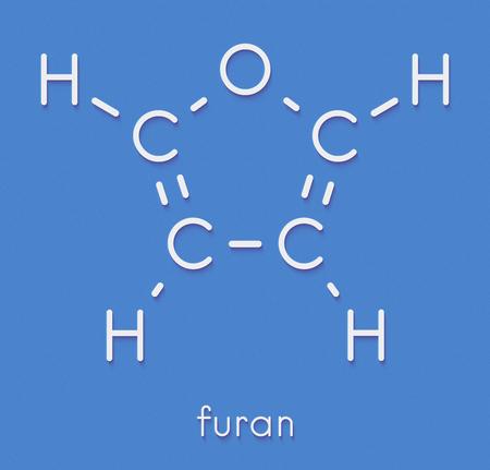 フランヘテロ環芳香族分子。骨格式。