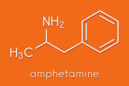 Amfetamine (amphetamine, speed) stimulant drug molecule. Skeletal formula. Stock Photo