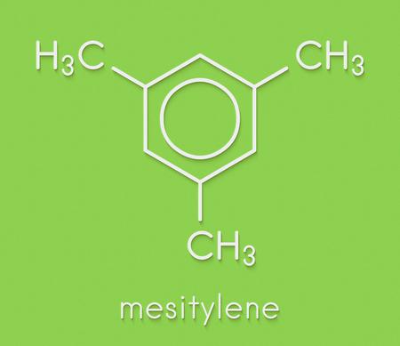 メシチレン芳香族炭化水素分子。化学産業における重要な溶媒および環境中の揮発性有機化合物(VOC)汚染物質。骨格式。 写真素材 - 91890566