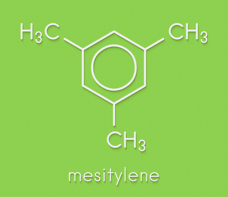 Mesitylene aromatic hydrocarbon molecule. Important solvent in chemical industry and volatile organic compound (VOC) pollutant in the environment. Skeletal formula. Stock Photo