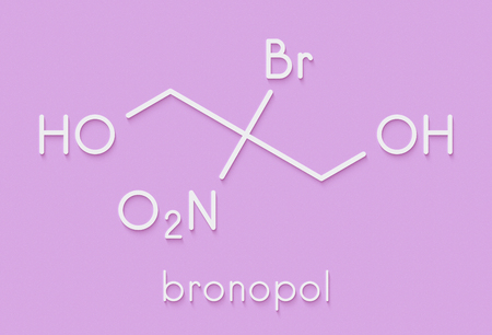 Bronopol preservative molecule. Possibly carcinogenic through nitrosamine formation. Skeletal formula.