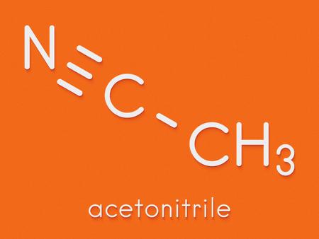Acetonitrile chemical solvent molecule. Skeletal formula.