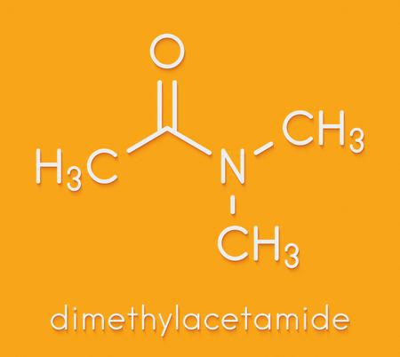 Dimethylacetamide (DMAc) chemical solvent molecule. Skeletal formula.