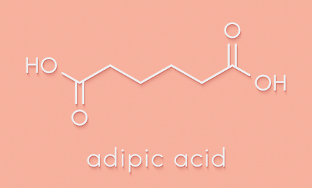 Adipic acid nylon building block molecule. Monomer used in production of nylon polyamide polymer. Skeletal formula.