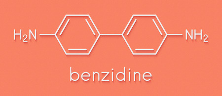 Benzidine (4,4'-diaminobiphenyl) chemical. Highly carcinogenic. Used in production of dyes. Skeletal formula. Stock Photo