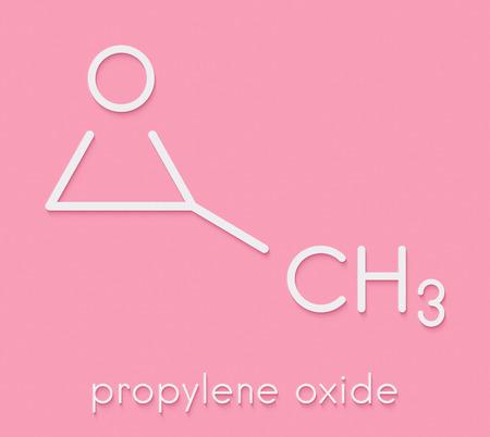 Propylene oxide molecule. Used as fumigant in pasteurization of almonds and pistachio nuts. Skeletal formula.