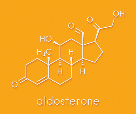Aldosterone mineralocorticoid hormone, produced by the adrenal gland. Skeletal formula.