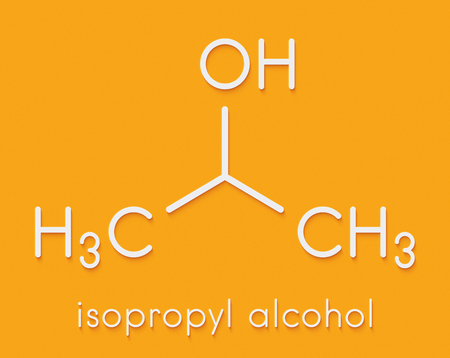 Isopropylalcohol (isopropanol, 2-propanol) molecule. Used in disinfectant solutions and as solvent. Skeletal formula.