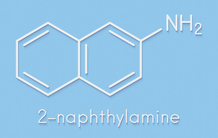 2-naphthylamine carcinogen molecule. Sources include cigarette smoke. May play a role in development of bladder cancer. Skeletal formula. Stock Photo