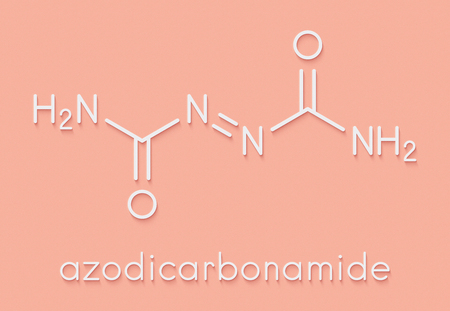 Azodicarbonamide food additive molecule. Used in bread production as flour improving agent and as blowing agent in the production of foam plastics. Skeletal formula. Stock Photo