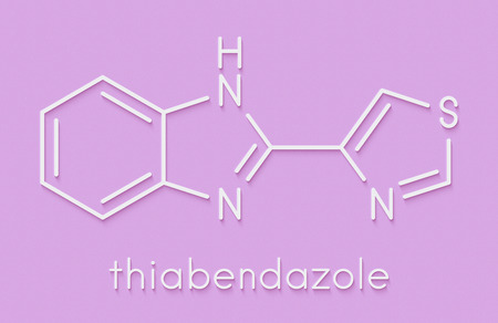 thiabendazole (tiabendazole) fungicidal and anti-parasite molecule. Used as food preservative and antihelmintic drug. Skeletal formula.