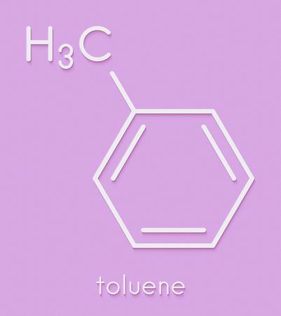 トルエン(メチルベンゼン、トルオール)化学溶媒分子。骨格式。 写真素材