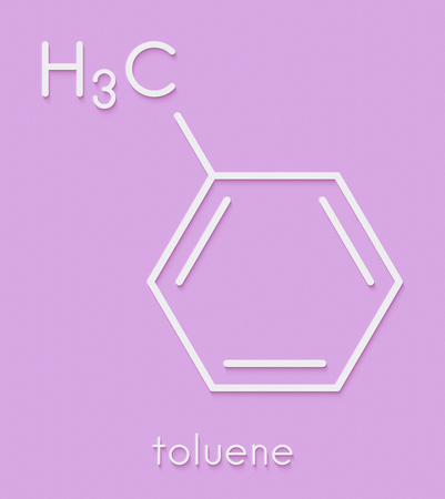 Toluene (methylbenzene, toluol) chemical solvent molecule. Skeletal formula.