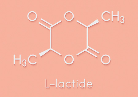 L-lactide PLA precursor molecule. Used in synthesis of polymeric polylactic acid (polylactide, polylactate) plastic. Skeletal formula.