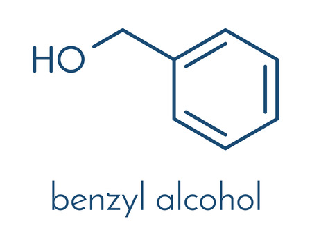 Benzyl alcohol solvent molecule. Used in manufacture of paint, ink, etc. Also used as preservative in drugs. Skeletal formula. Illustration