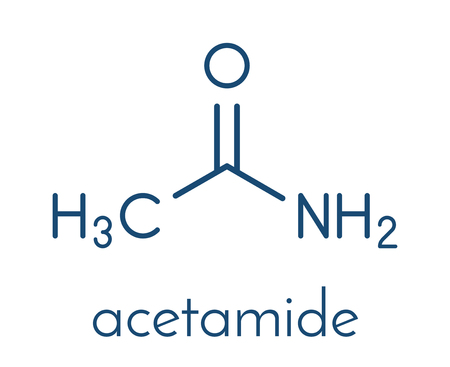 Acetamide (ethanamide) molecule. Used as plasticizer and industrial solvent. Carcinogenic (known to cause cancer). Skeletal formula illustration.