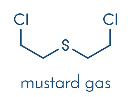 Sulfur mustard or bis(-chloroethyl) sulfide molecule. Also known as Yperite and used in chemical weapons. Skeletal formula illustration.. Stock Illustratie