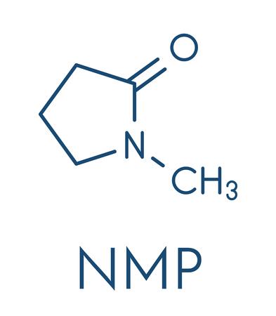 N-methyl-2-pyrrolidone (NMP) chemical solvent molecule. Skeletal formula vector illustration.
