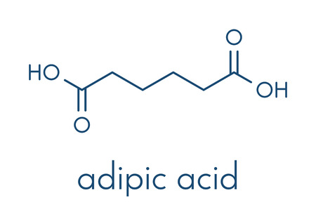 Adipic acid nylon building block molecule. Monomer used in production of nylon polyamide polymer. Skeletal formula illustration.