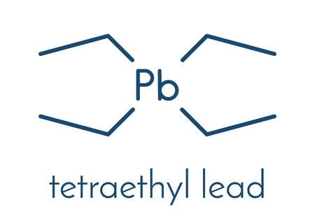Tetraethyllead gasoline octane booster molecule. Neurotoxic organolead compound. Skeletal formula.