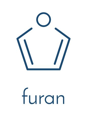 Furan heterocyclic aromatic molecule. Skeletal formula.