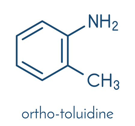 Toluidine (ortho-toluidine, 2-methylaniline) molecule. Suspected to be carcinogenic. Skeletal formula.