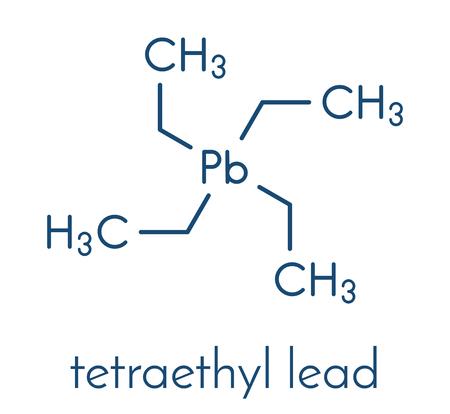 Tetraethyllead gasoline octane booster molecule. Neurotoxic organolead compound. Skeletal formula. Stock Vector - 91934582