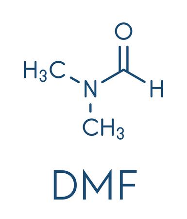 Dimethylformamide (DMF) chemical solvent molecule. Skeletal formula.