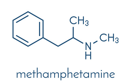 Methamphetamine (crystal meth, methamfetamine) stimulant drug molecule. Skeletal formula. Illustration