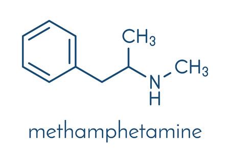 Methamphetamine (crystal meth, methamfetamine) stimulant drug molecule. Skeletal formula. Illustration