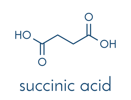 Succinic acid (butanedioic acid) spirit of amber. molecule. Intermediate of citric acid cycle. Salts and esters known as succinates. Skeletal formula. Illustration