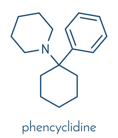 Phencyclidine  hallucinogenic drug molecule. Illustration