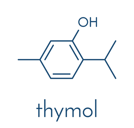 Thymol oil of thyme molecule. Present in kitchen herb Thymus vulgaris. Has antiseptic and preservative properties. Skeletal formula.