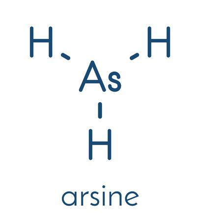 Arsine molecule. Inorganic arsenic compound. Skeletal formula.