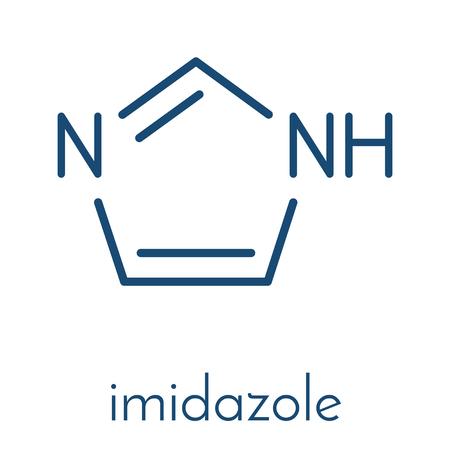 Imidazole organic heterocyclic molecule. Skeletal formula.  イラスト・ベクター素材