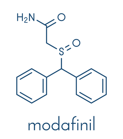 Modafinil wakefulness promoting drug. Used to treat narcolepsy and illicitly as a doping agent. Skeletal formula.