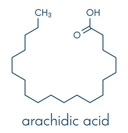 Arachidic (eicosanoic) acid molecule. Saturated fatty acid. Skeletal formula. Çizim
